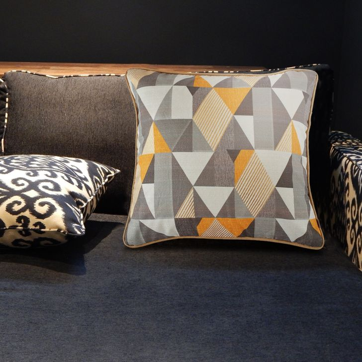 Modern Geometric Velvet Cushion Covers in Grey Mustard Colour by Living Essence