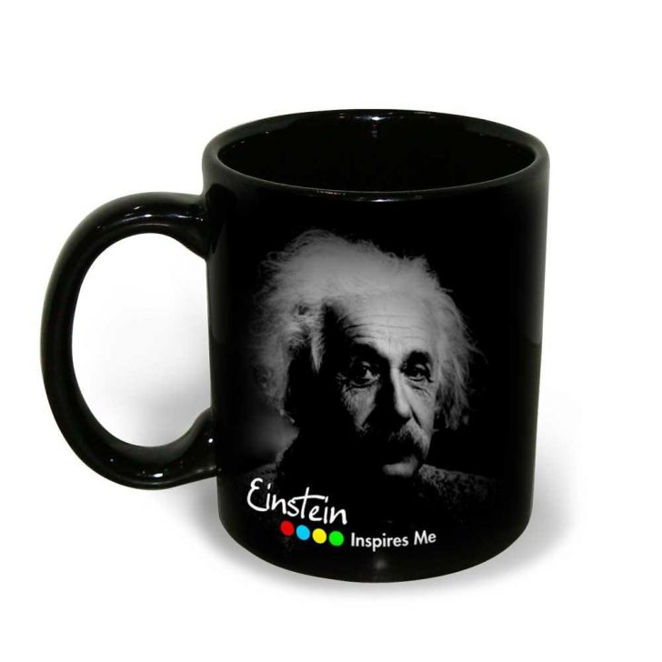 Hot Muggs Albert Einstein Quote on Moving on In Life Ceramic Inspirational Mug, 350 ml, 1 Pc Ceramic Coffee Mugs in Black Colour by HotMuggs