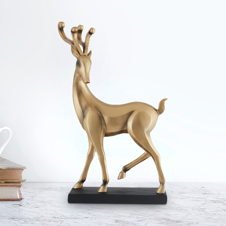 Fio Standing Antelope Polyresin Figurines in Gold Colour by Living Essence