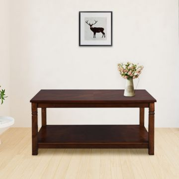 Buy Maverick Solid Wood Center Table In Walnut Colour By Hometown