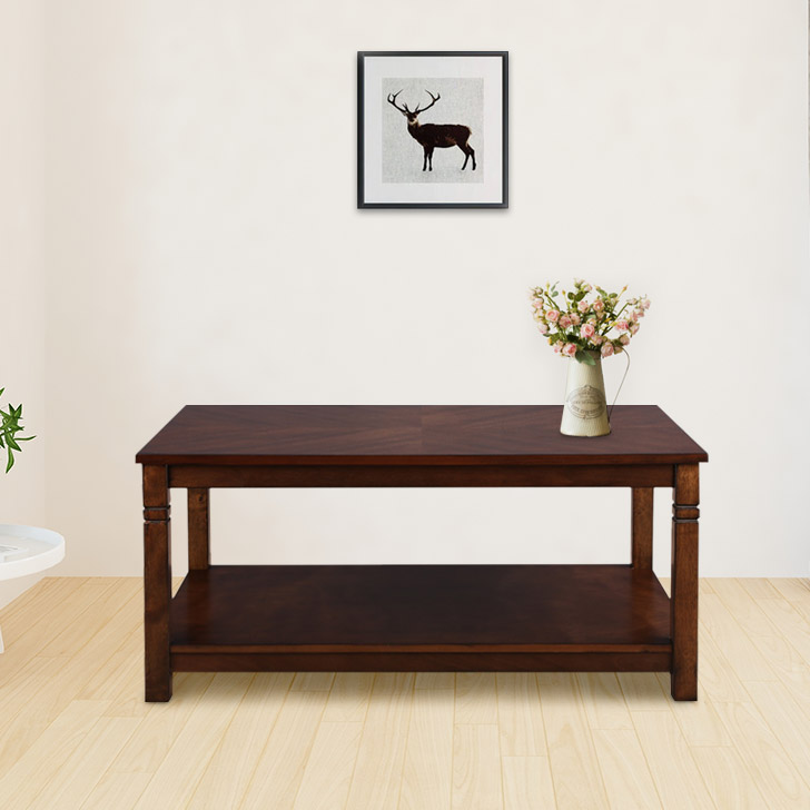 Maverick Solid Wood Center Table in Walnut Colour by HomeTown