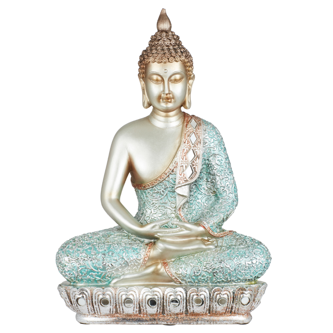 Miraya Standing Buddha Blue Gold Polyresin Table D in Blue Gold Colour by Living Essence