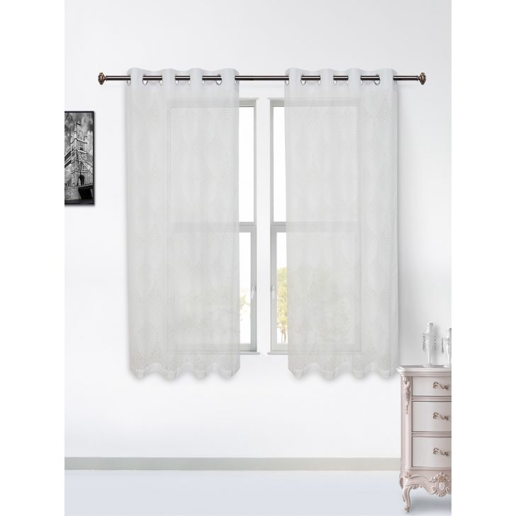 Amour Sheer Set of 2 Polyester Window Curtains in Off White Colour by Living Essence