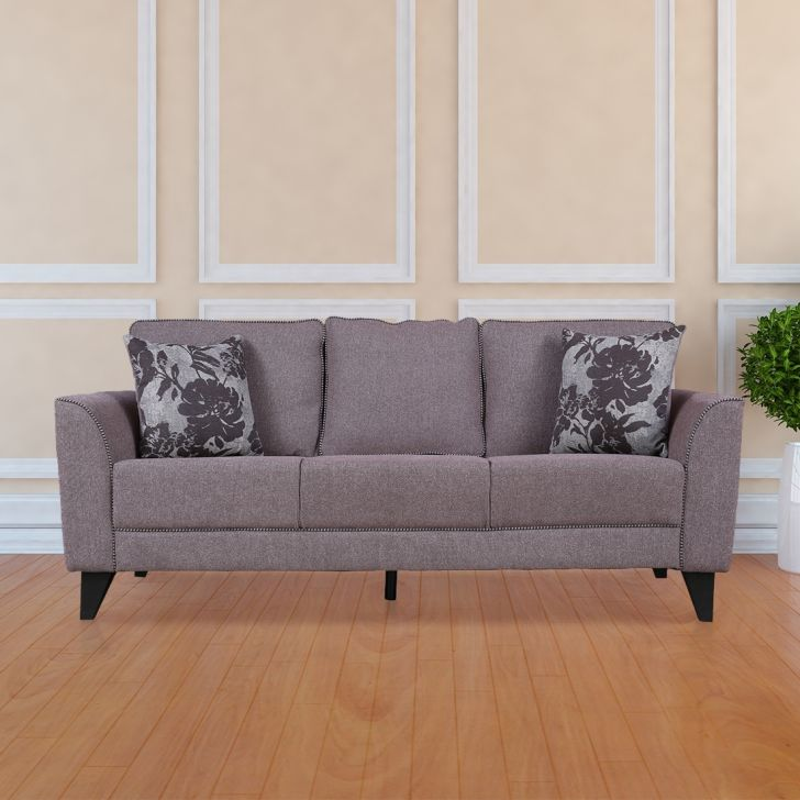 Chester Fabric Three Seater Sofa in Brown Colour by HomeTown