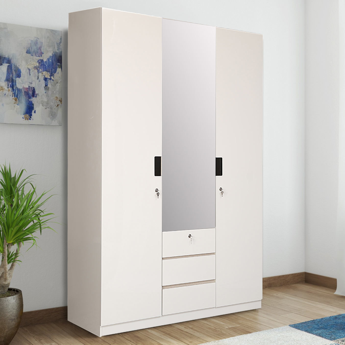 Edwina Engineered Wood Three Door Wardrobe in White High Gloss Colour by HomeTown