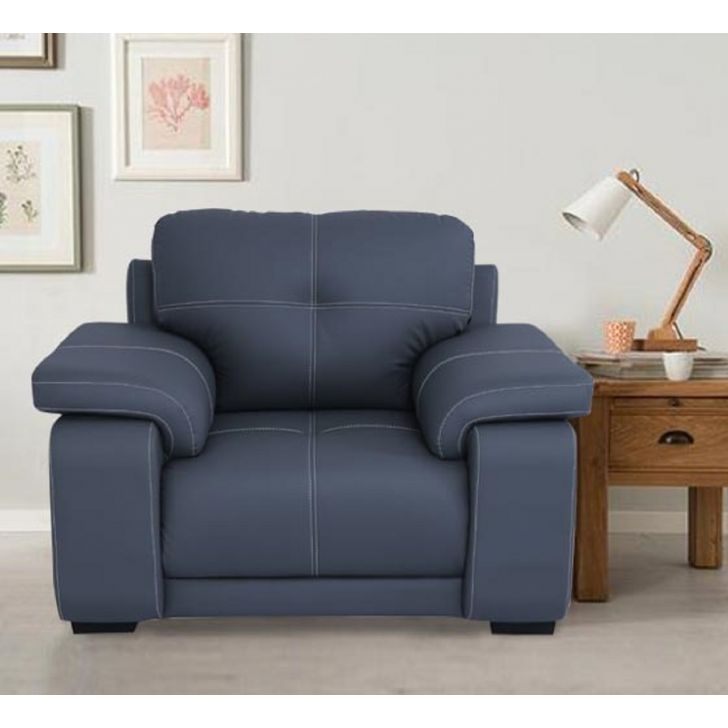 Albury Solid Wood Single Seater Sofa in Grey Colour by HomeTown