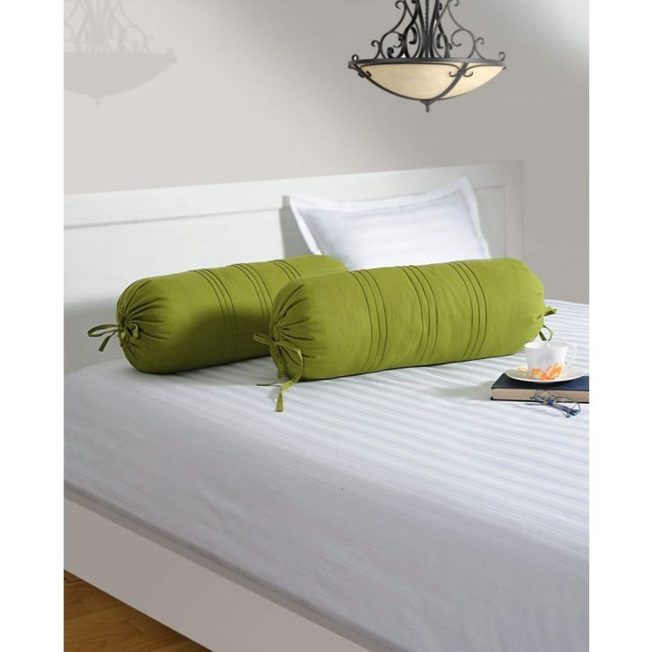 Solid Bolster Cover In Green Color By Swayam