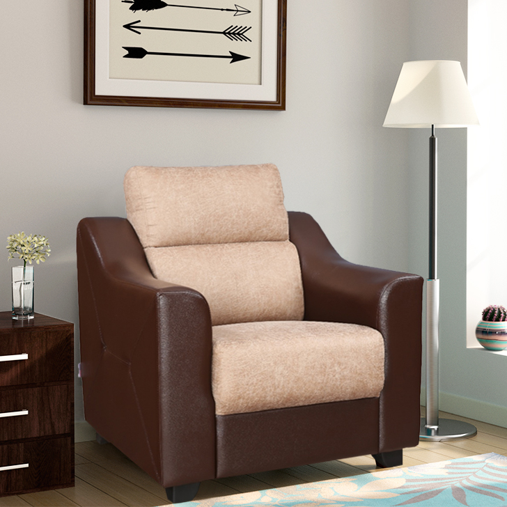 Alfred Fabric & Leatherette Single Seater Sofa in Brown Colour by HomeTown