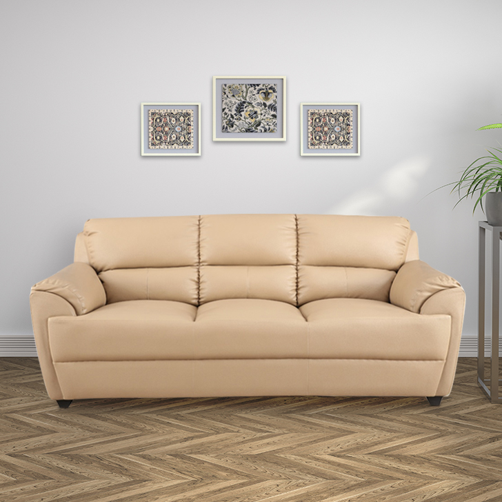Taylor Leatherite 3 Str Sofa Butrscotch