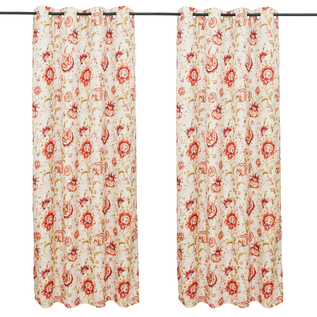 Nora Printed set of 2 Polyester Door Curtains in Maroon Colour by Living Essence
