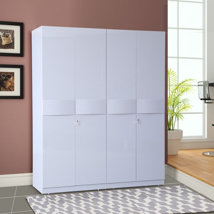 Collin Engineered Wood Four Door Wardrobe in High Gloss Grey Colour by HomeTown