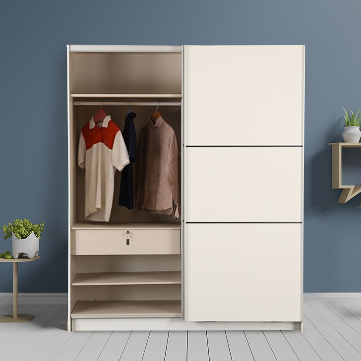 Edwina Engineered Wood Sliding Wardrobe in White High Gloss Colour by HomeTown