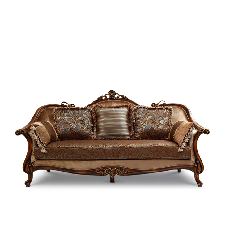 Monarch Rubber Wood Three Seater sofa in Brown Colour by HomeTown