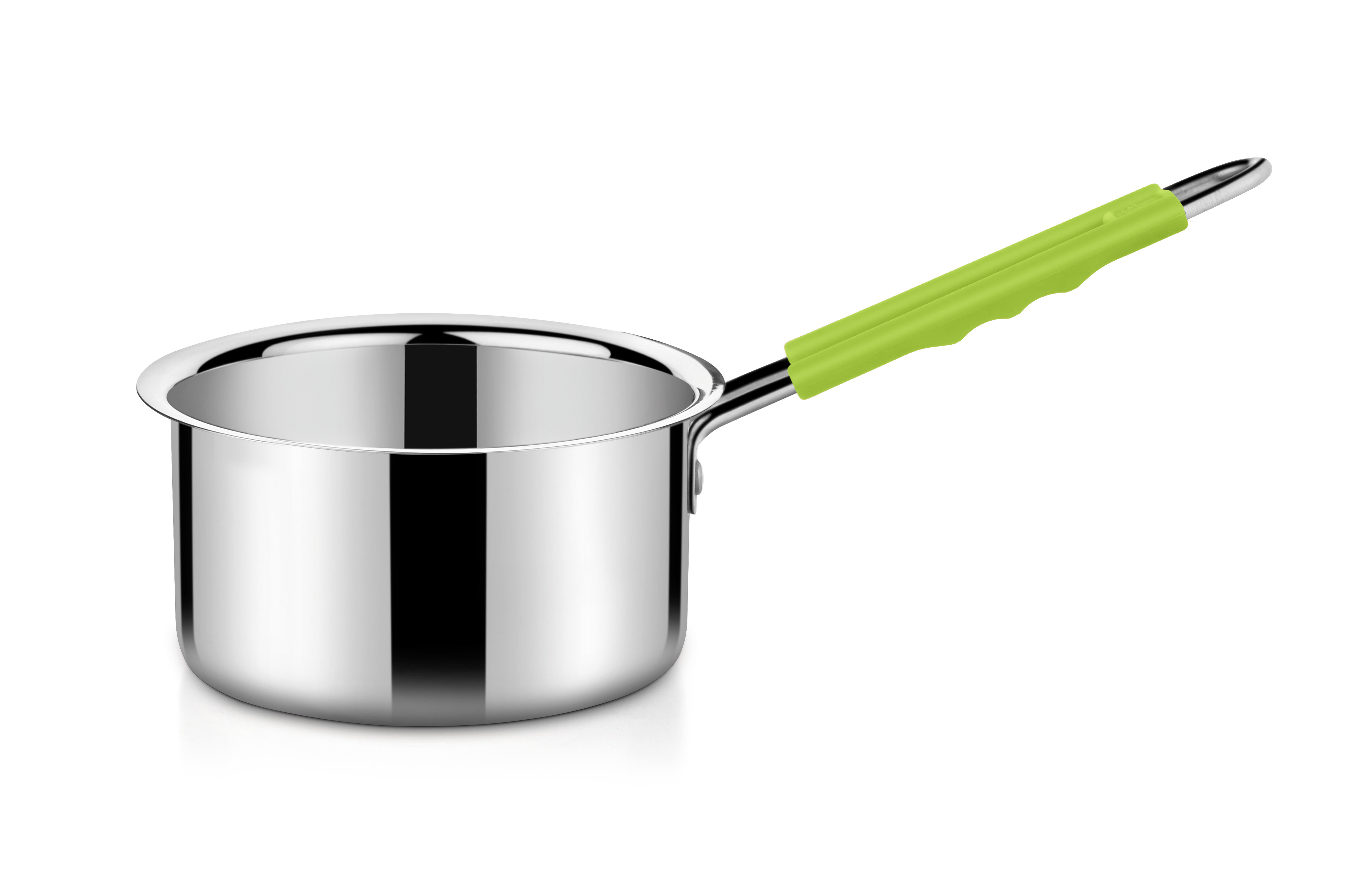 Bonita Stainless Steel With Silicone Sauce Pans in Green Colour by Bonita