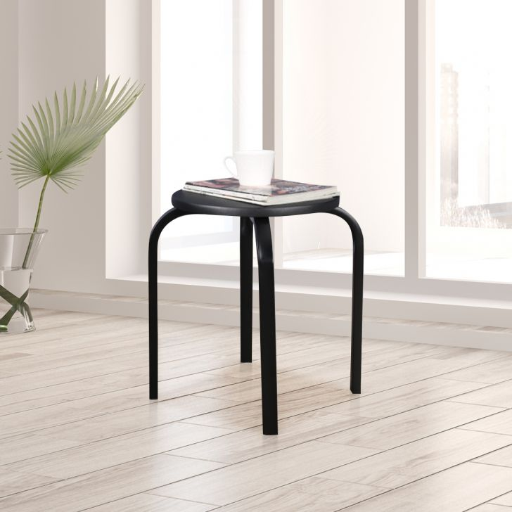 Dane Engineered Wood Stool in Black Colour by HomeTown