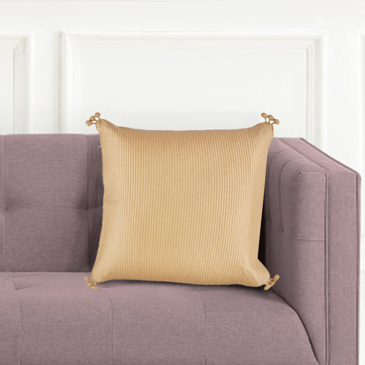 Pompom Cushion Cover Polyester Cushion Covers in Off White Colour by Living Essence