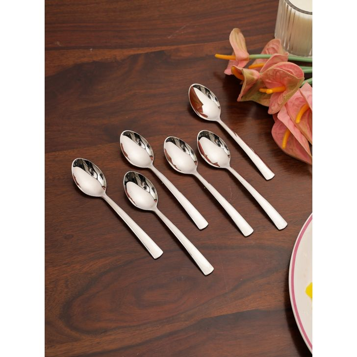 FNS Solo Desert Steel Spoon Set of 6 in Silver Colour by FNS