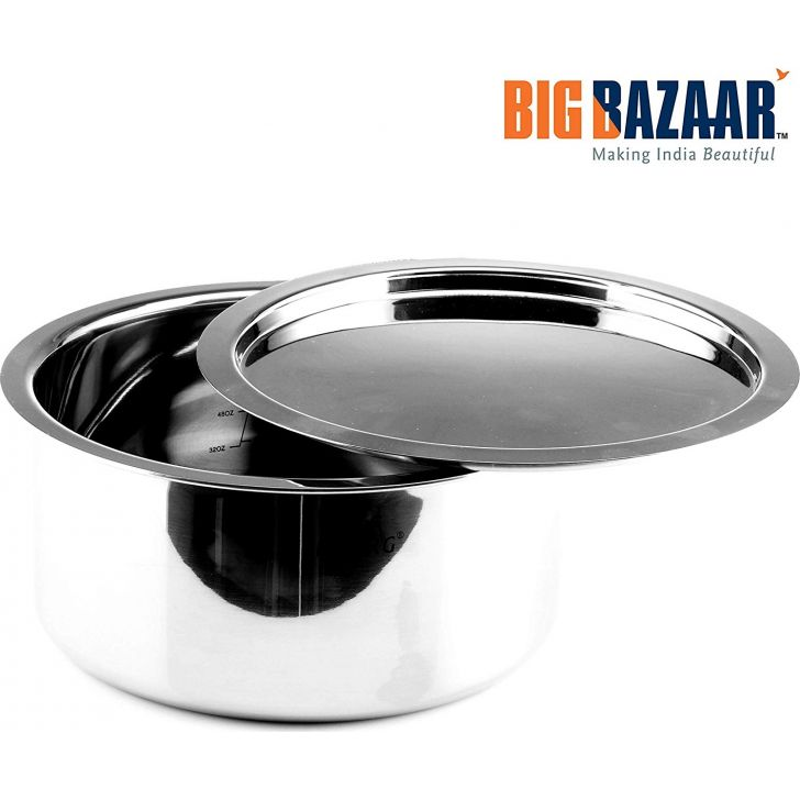Trinox Triply Induction Base Tope 14 cm with Lid Stainless steel Cooking Vessels in Silver Colour by Wellberg