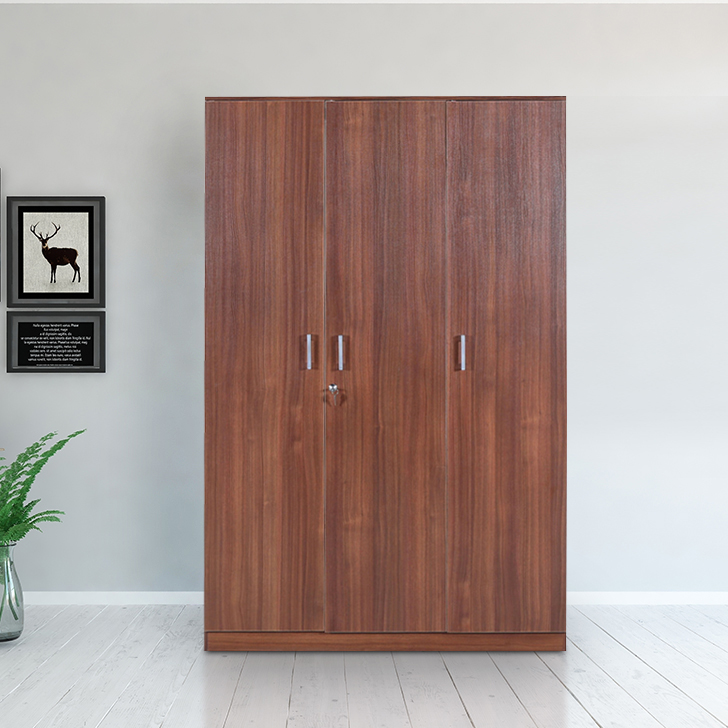 Wilson Engineered Wood Three Door Wardrobe in Regato Walnut Colour by HomeTown