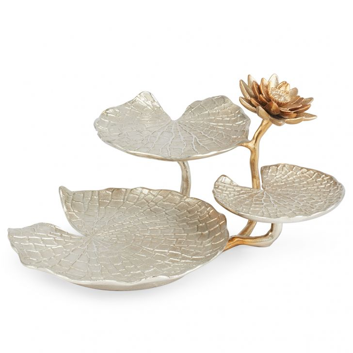 Jashn Silver Lotus Leaf Design Stand Metal Table D in Silver Colour by Living Essence