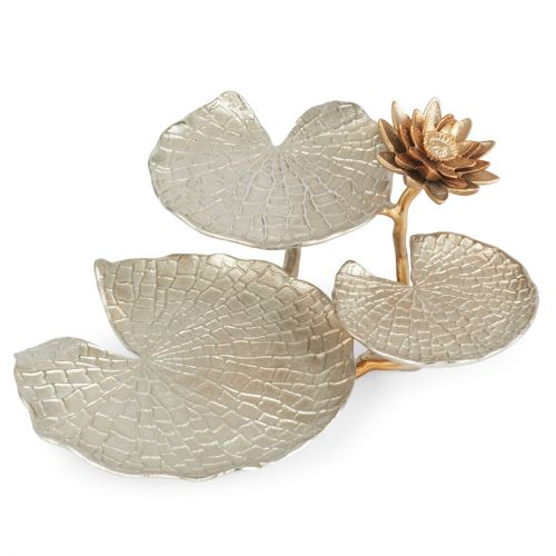 Buy Jashn Silver Lotus Leaf Design Stand Metal Table D In Silver