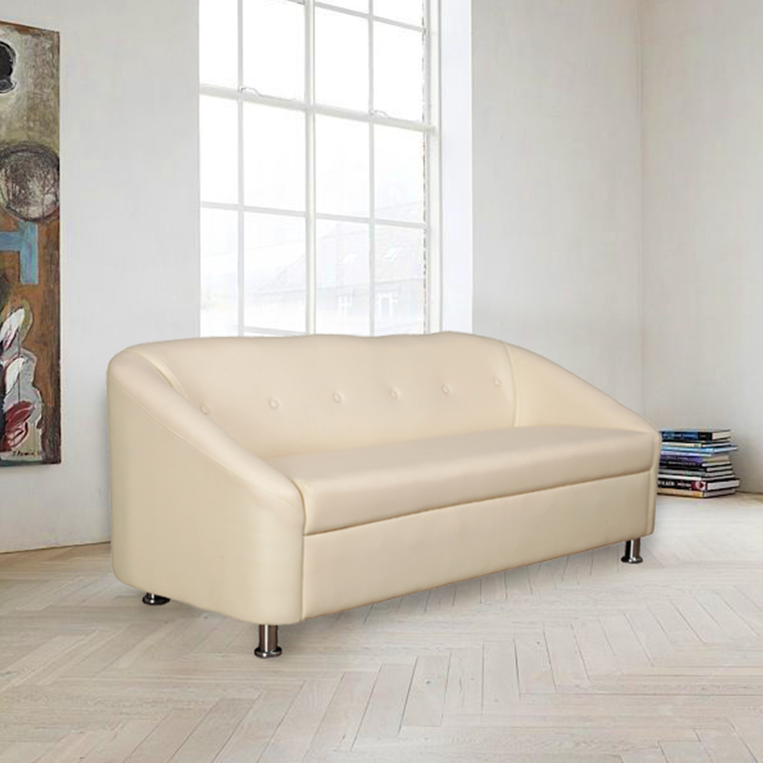 Belfast Miranty Wood Three Seater sofa in Ivory Colour by HomeTown