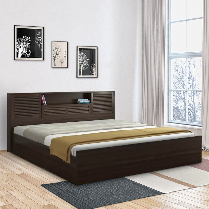 Bolton Engineered Wood Hydraulic Storage Queen Size Bed in Wenge Colour by HomeTown