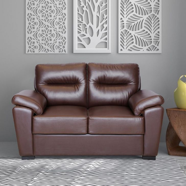 Jesolo Solid Wood Two Seater Sofa in Brown Colour