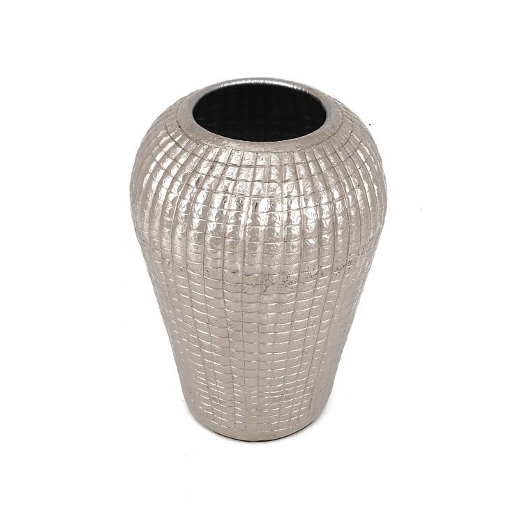 Shiraz Aluminium Flame Vase Medium Aluminium Vases in Silver Colour by Living Essence