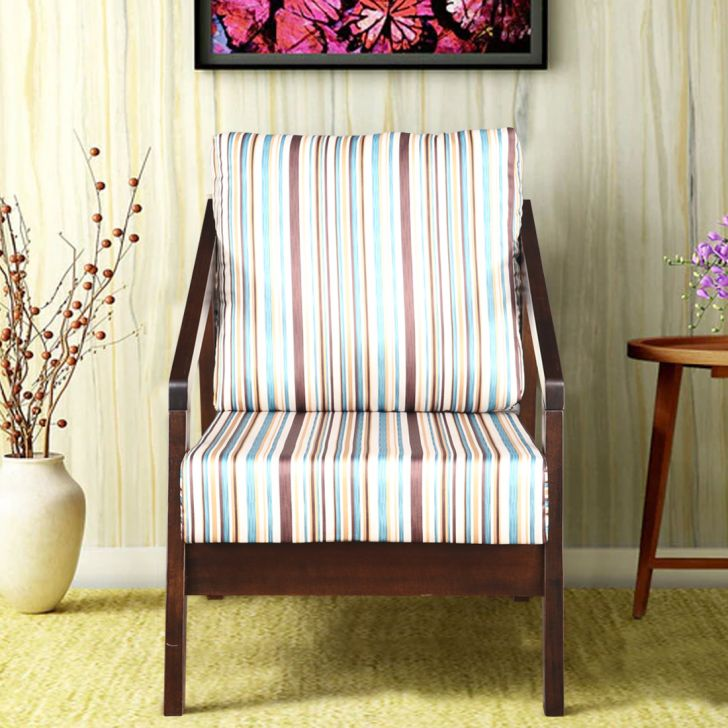 Borris Solid Wood Single Seater Sofa With Cushion in Stripes Colour by HomeTown