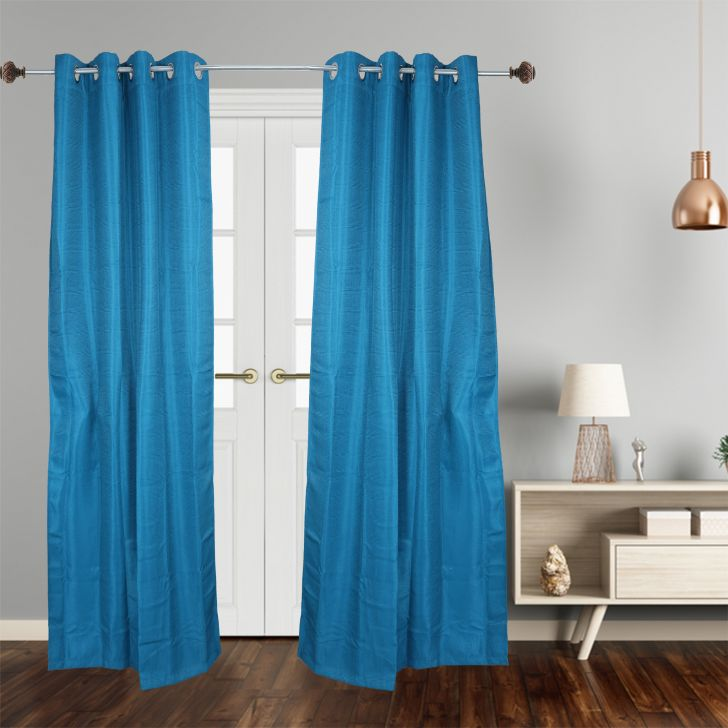Solid Blackout Polyester Door Curtain in Blue Colour by Cannon