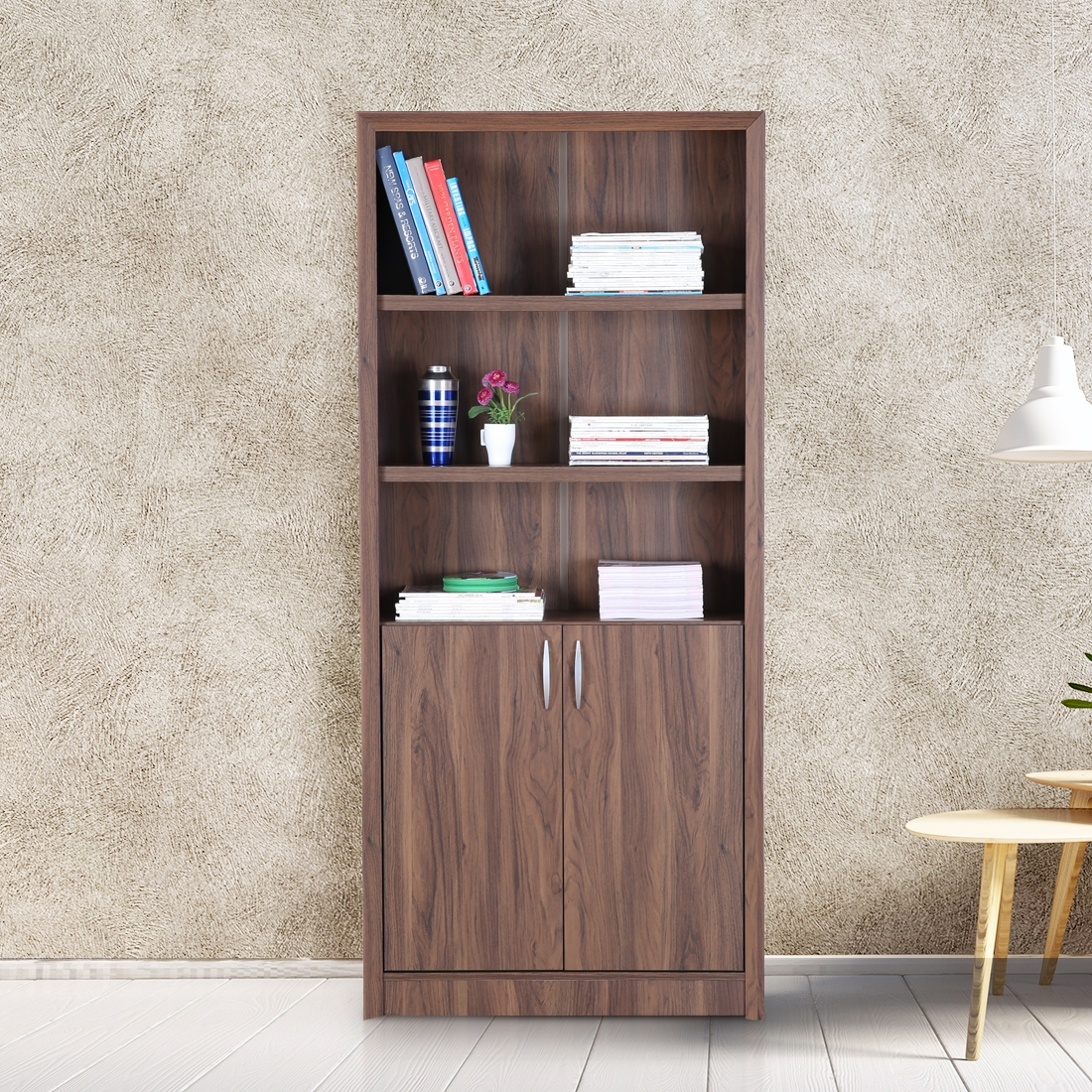 Buy Stark Engineered Wood Book Shelf In Walnut Colour By