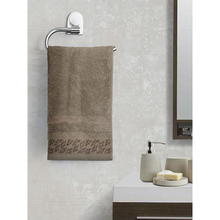 Portico New York Ariana Jacquard : B Hand Towel in Brown Bn Color by Portico