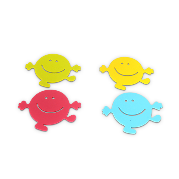 HomeTown Smiley Silicone Coaster 4 Pcs Silicon Baking Tools in Multicolor Colour by Living Essence