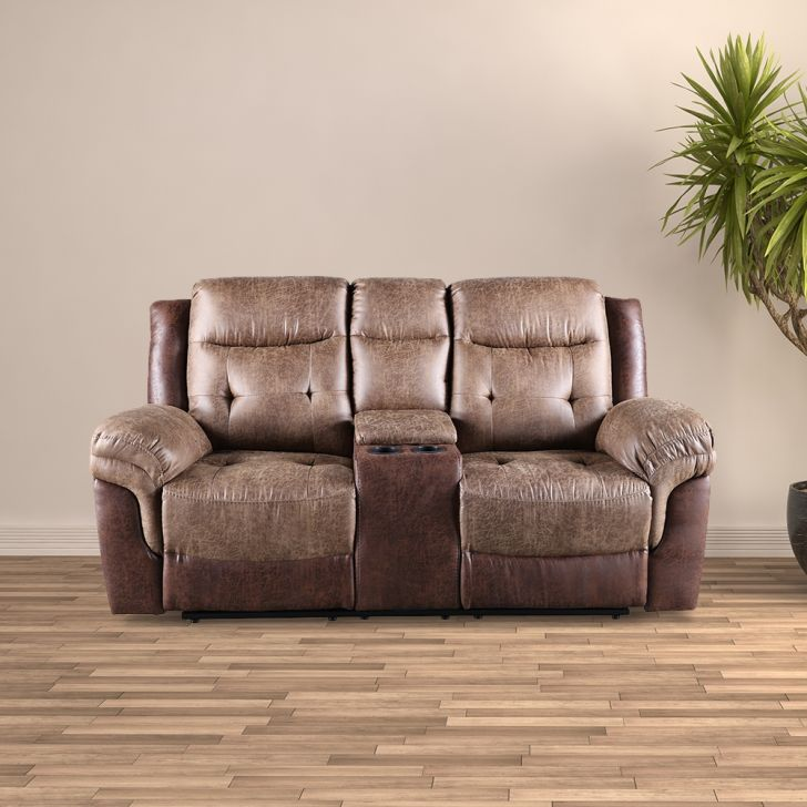 Eliza Leather Fabric 2 seater Electric Recliner in Brown Colour