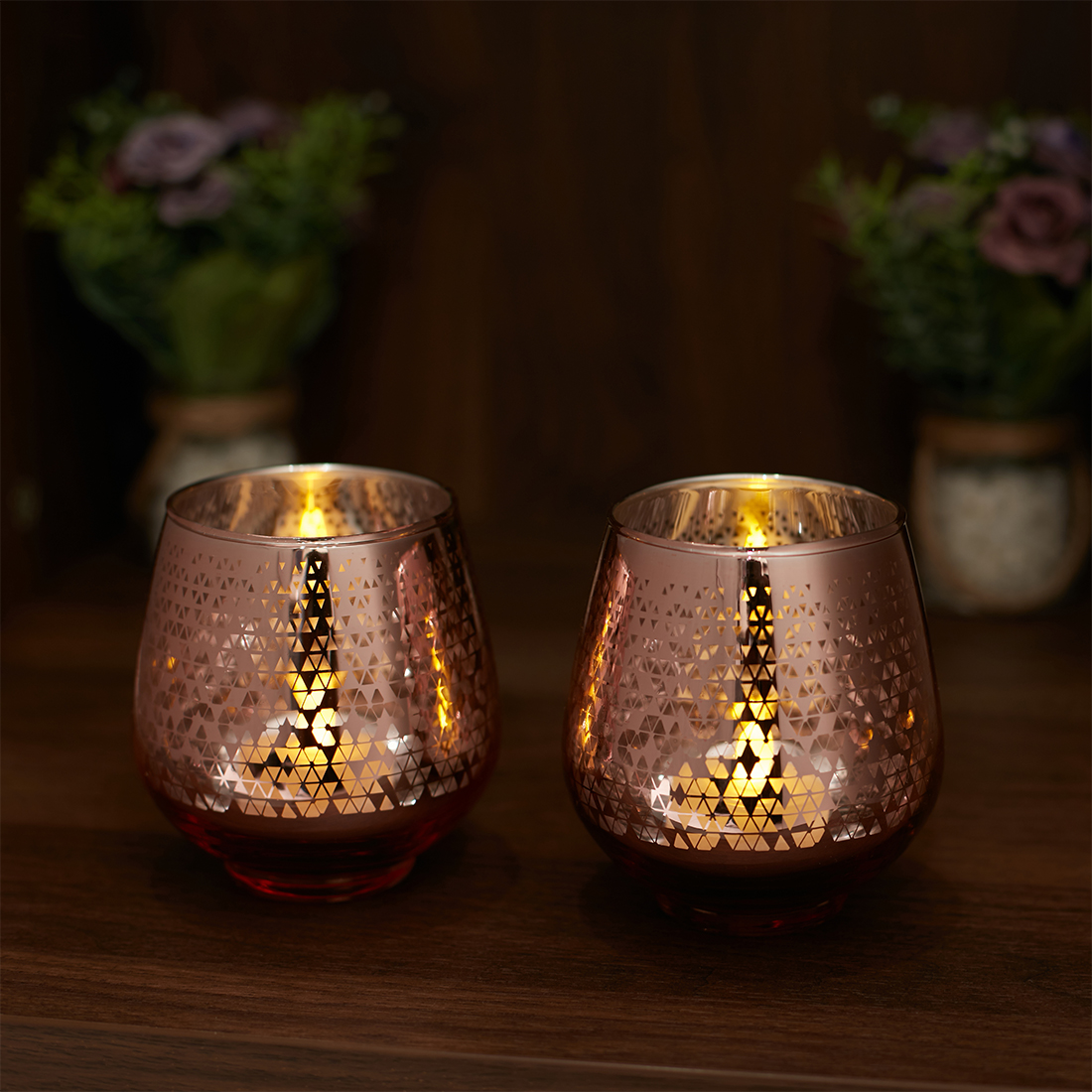 Zahara Set Of 2 Star Etched Glass Candle Holders in ROSE GOLD Colour by Living Essence