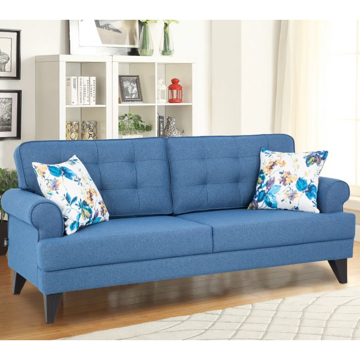 Paddington Fabric Three Seater Sofa in Blue Colour by HomeTown