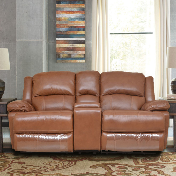 Mercedes Half Leather Two Seater Electric Recliner With Console in Brown Colour by HomeTown