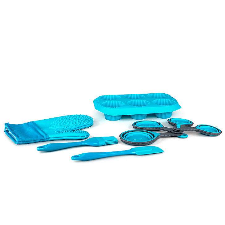 Baking Set 8 Pcs Silicon Baking Tools in Blue Colour by Living Essence
