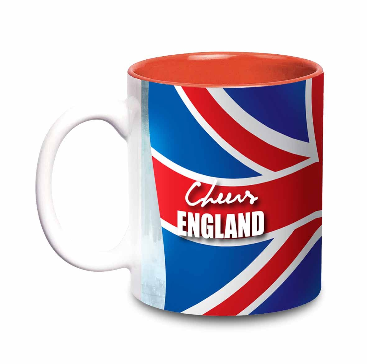 Hot Muggs Cheers England Flags 350 ml, 1 Ceramic Coffee Mugs in Multi Colour Colour by HotMuggs