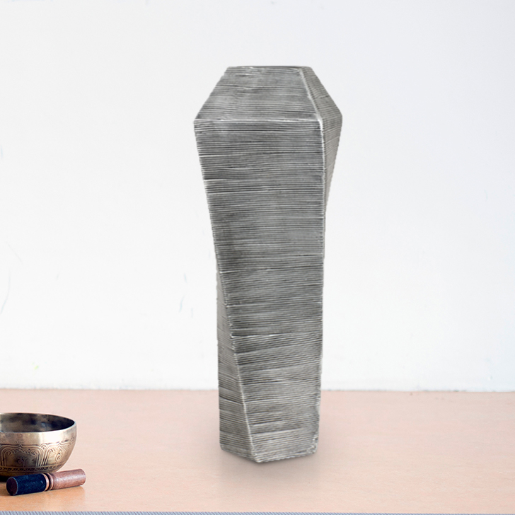 Cellini Swirl Cube Gry 48Cm Tl vase Polyresin Vases in Grey Colour by Living Essence