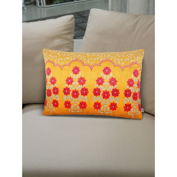 Folklore Butta Polyester Cushion Covers in Mango Colour by Living Essence