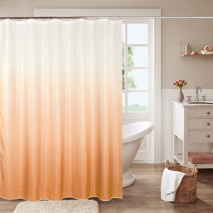 Glam Polyester Shower Curtain 180X200 Cm in Brown Colour