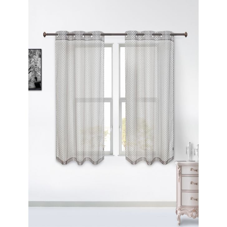 Amour Sheer Set of 2 Polyester Window Curtains in Charcoal Colour by Living Essence