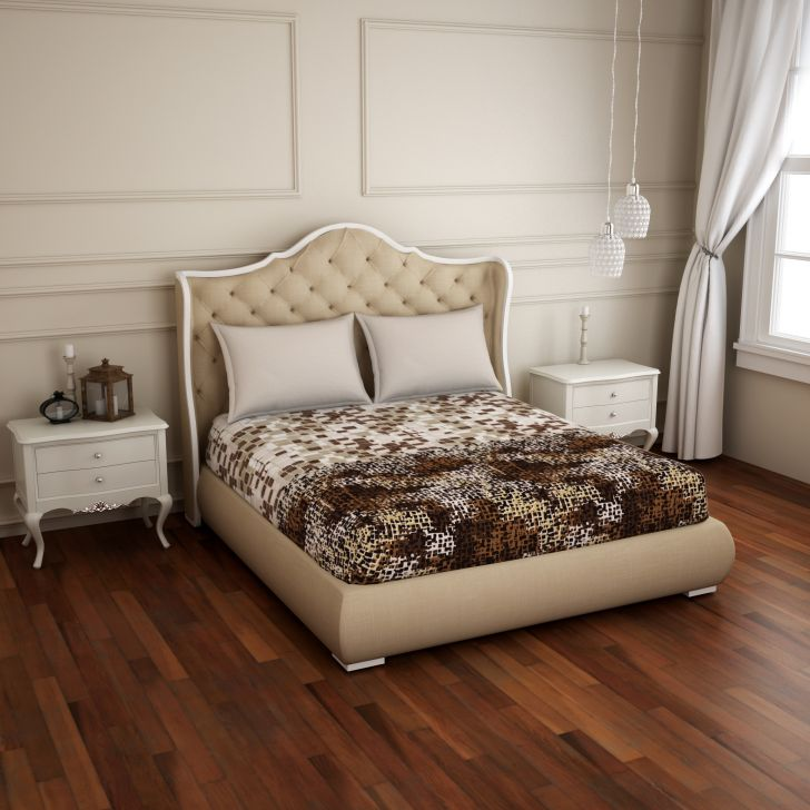 Spaces Atrium Plus Brown Floral 1 Double Bed Sheet With 2 Pillow Covers
