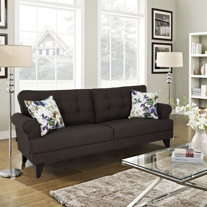 Miller Fabric Three Seater Sofa in Brown Colour by HomeTown