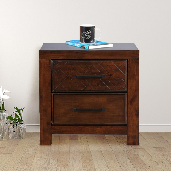 Atlas Solid Wood Bedside Table in Walnut Colour by HomeTown