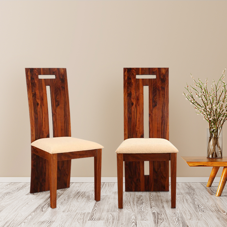 Austin Sheesham Wood(Rosewood) Dining Chair Set of 2 in Honey Colour
