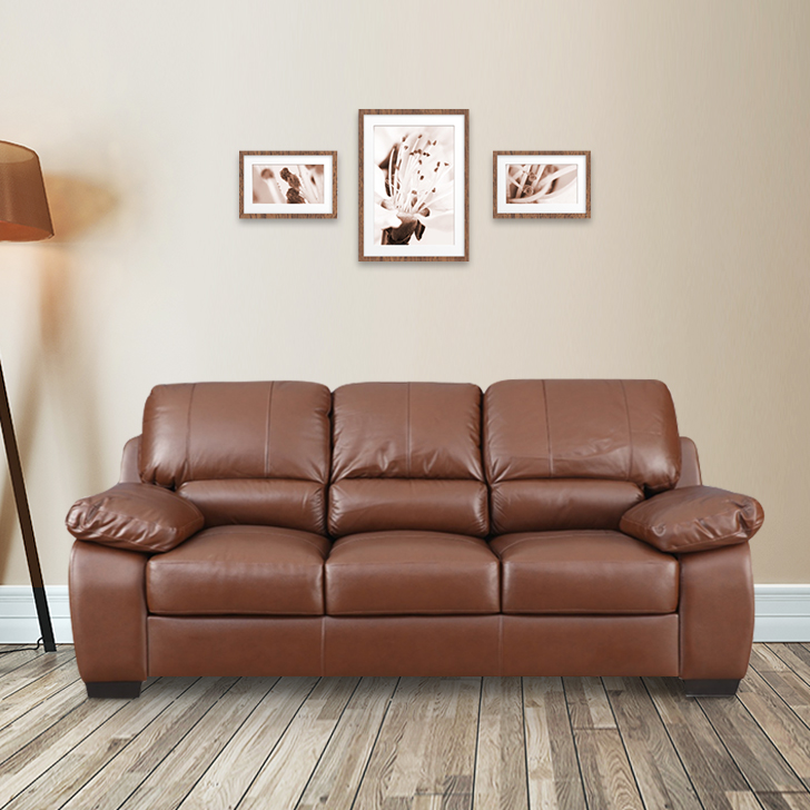 Barton Half Leather Three Seater Sofa in Brown Colour by HomeTown