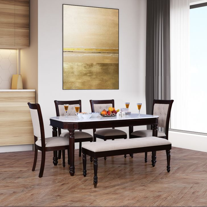 Royal Solid Wood Marble Top Six Seater Dining Set in Dark Walnut Colour by HomeTown